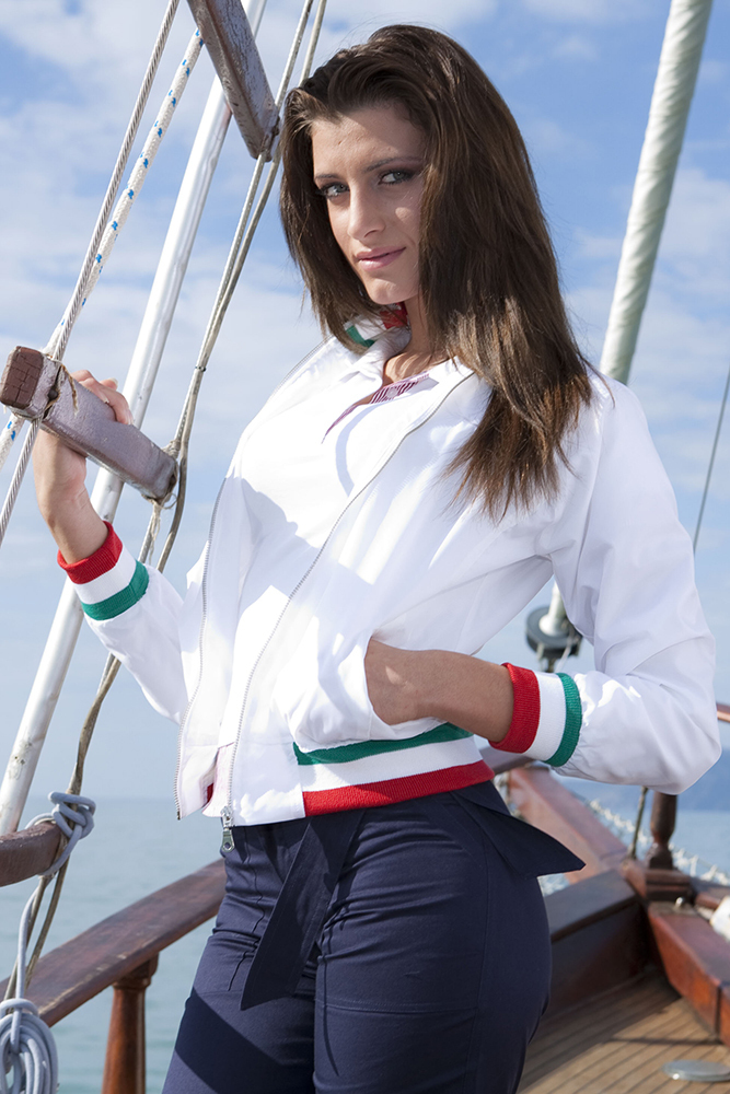 Giubbotto donna antivento  con tricolore