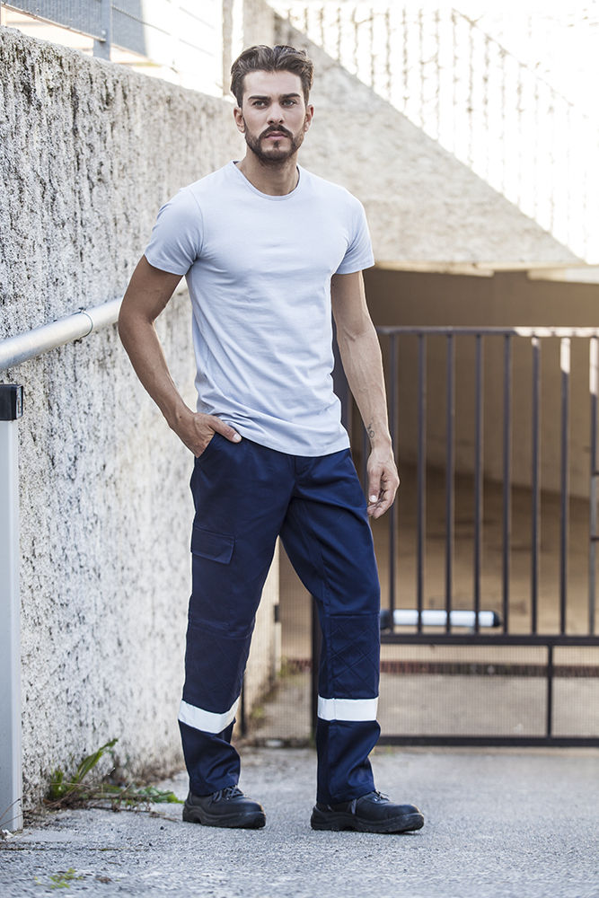 Unisex Multi-pocket pants with reflective bands
