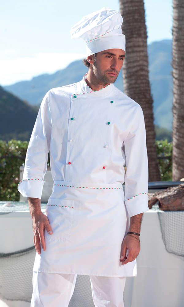 848df6b92bf Delantal cocinero con perfil tricolor, Delantales bandera italia