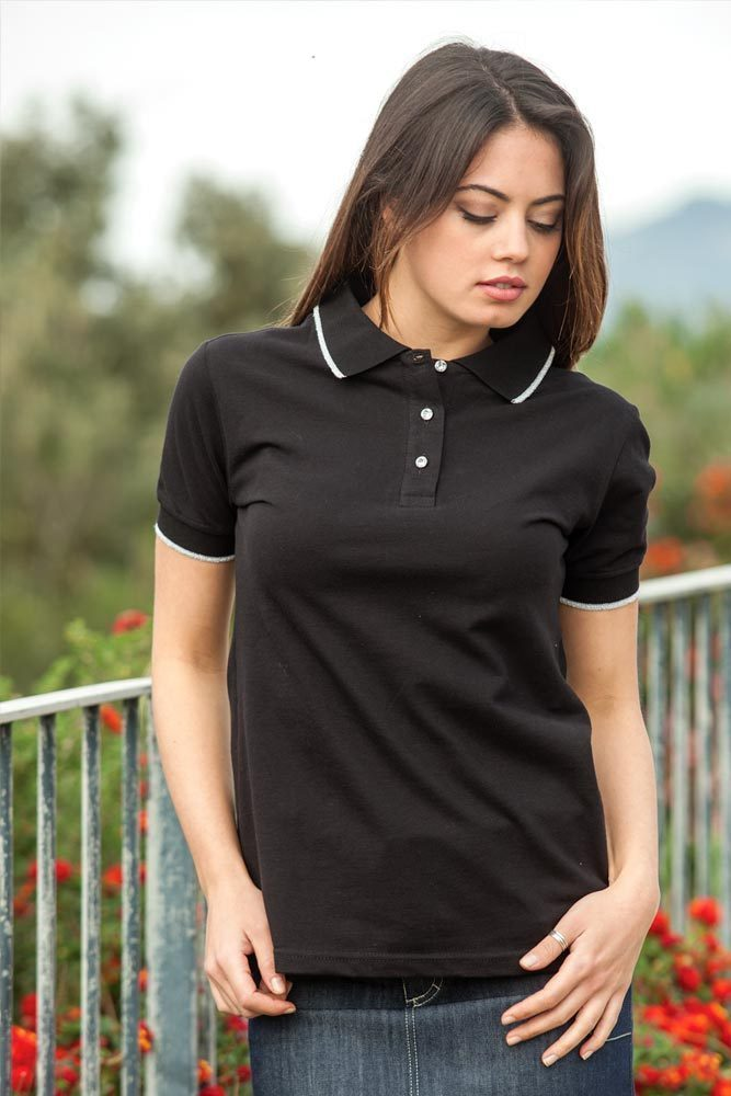 Woman's polo shirt with rhinestones