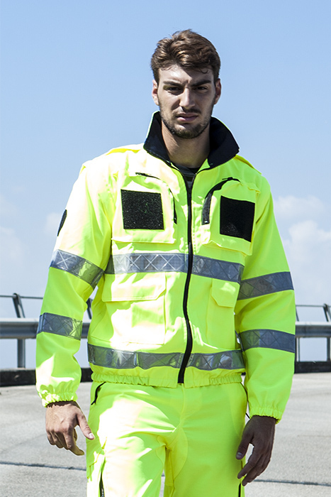 Unisex jacket with high visibility bands