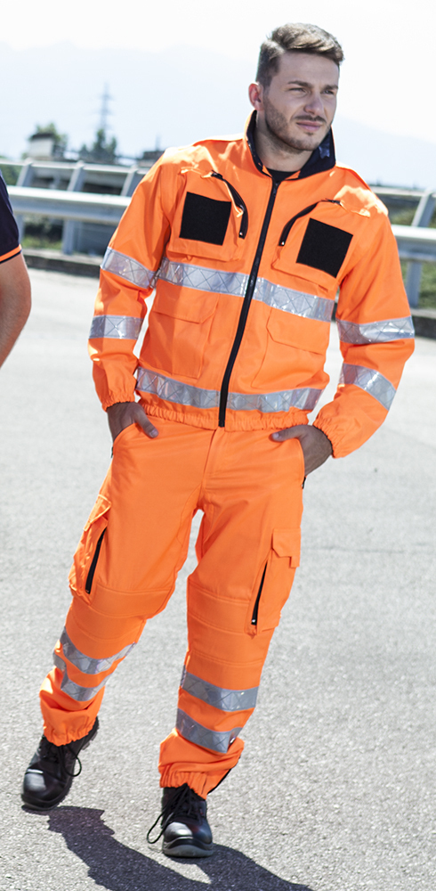 Unisex pants with high visibility bands