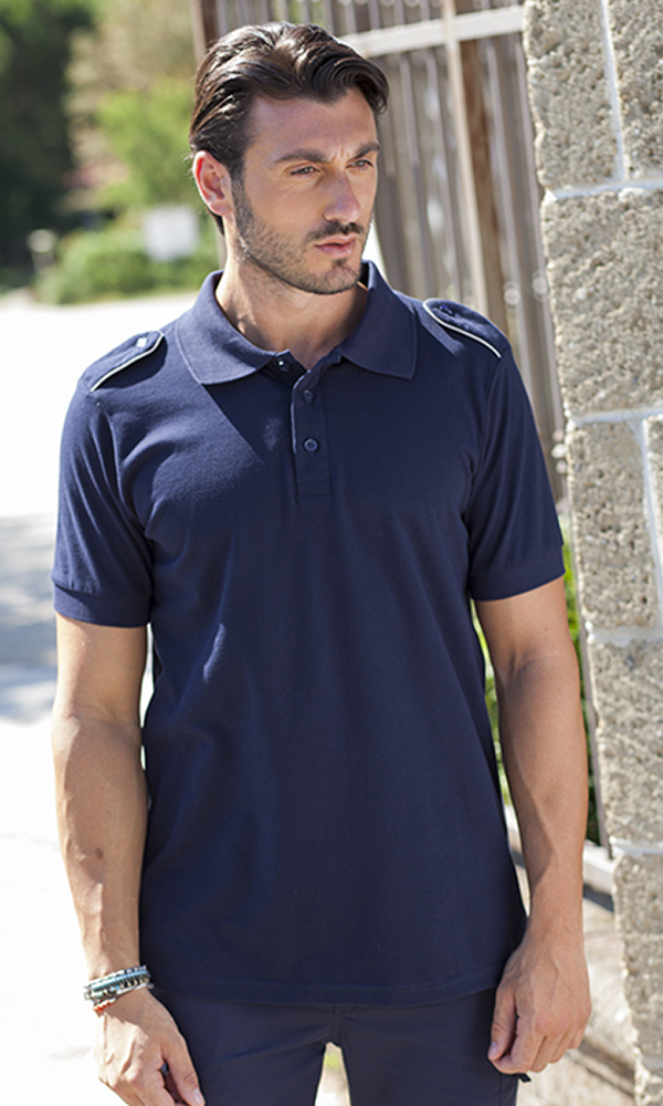 Unisex polo shirt with epaulettes