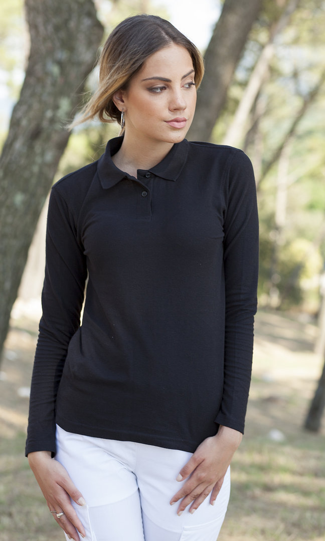 Polo donna in cotone piquet manica lunga