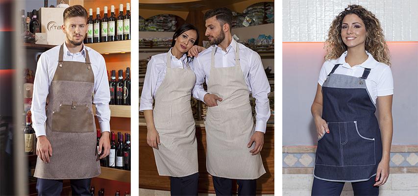 VASTO ASSORTIMENTO DI GREMBIULI E GREMBIULI CON PETTORINA PRODOTTI IN  ITALIA PER BAR E CAFFETTERIA ea9f83150c3d